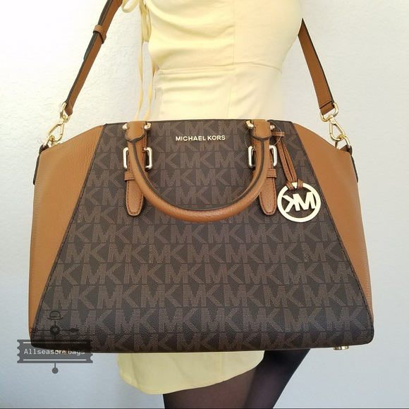 95f47a6d22 NWT Michael Kors Large Ciara satchel brown bag